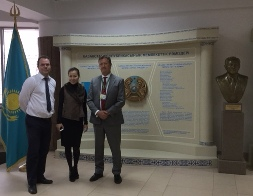 At Nazarbayev Intellectual School (IB), Astana. From left: Matthew Devanney, International Team Leader, IB; Indira Aksholakova, Manager for External Affairs; and Senior Associate Bill Turner