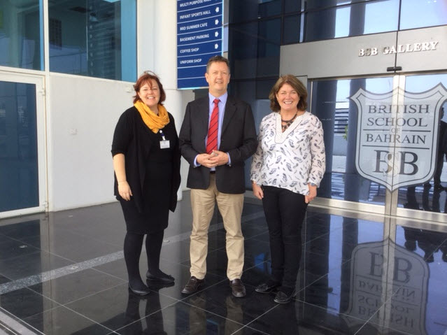 Bill Turner at the British School Bahrain with Katy Brand, Primary Headteacher, and Julie Anne Gilbert, Head of School