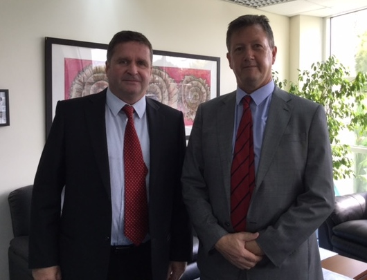 Deira International School Principal Jeff Smith with Bill Turner