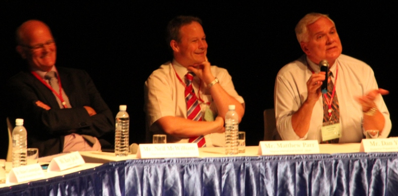 From left: Heads of School Neil McWilliam, Matthew Parr, and Dan Young lead panel discussion