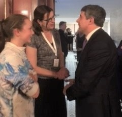 "A ""right place/ right time"" moment as Bridget and her daughter Kate shake hands with former president Plevneliev!"