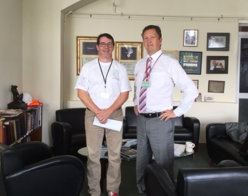 Bill (R) with Superintendent Wayne Rutherford at Cairo American College