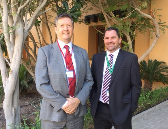 Bill Turner with Ian Colledge, Principal of Raha International School