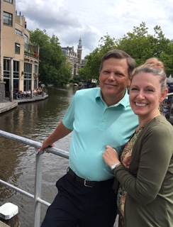 Bob and Jennifer Imholt overlooking a canal in Amsterdam